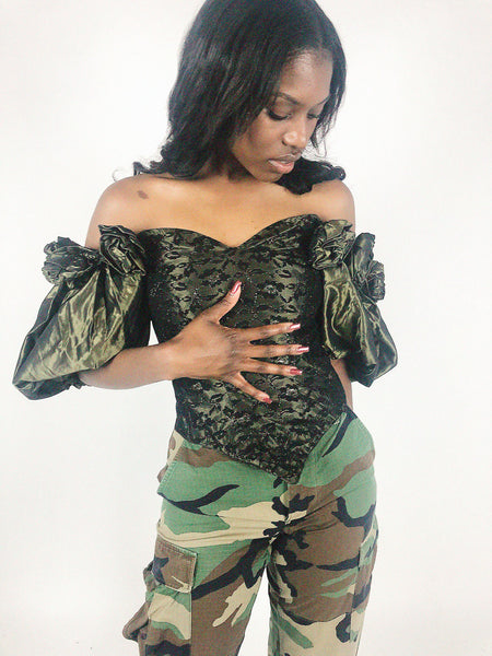 vintage olive green taffeta corset bustier bodice top with balloon sleeves