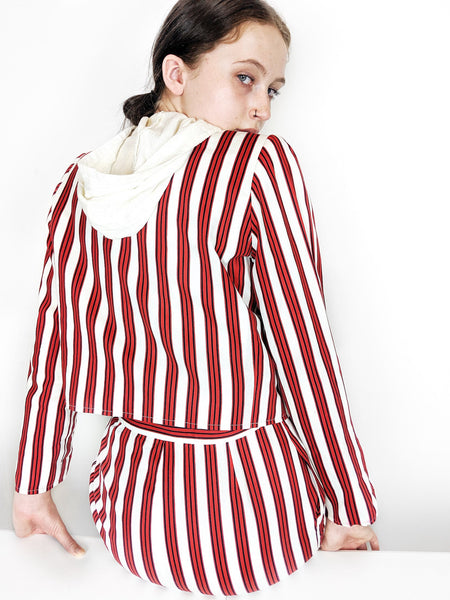 vintage yves saint laurent ysl red white striped skirt suit