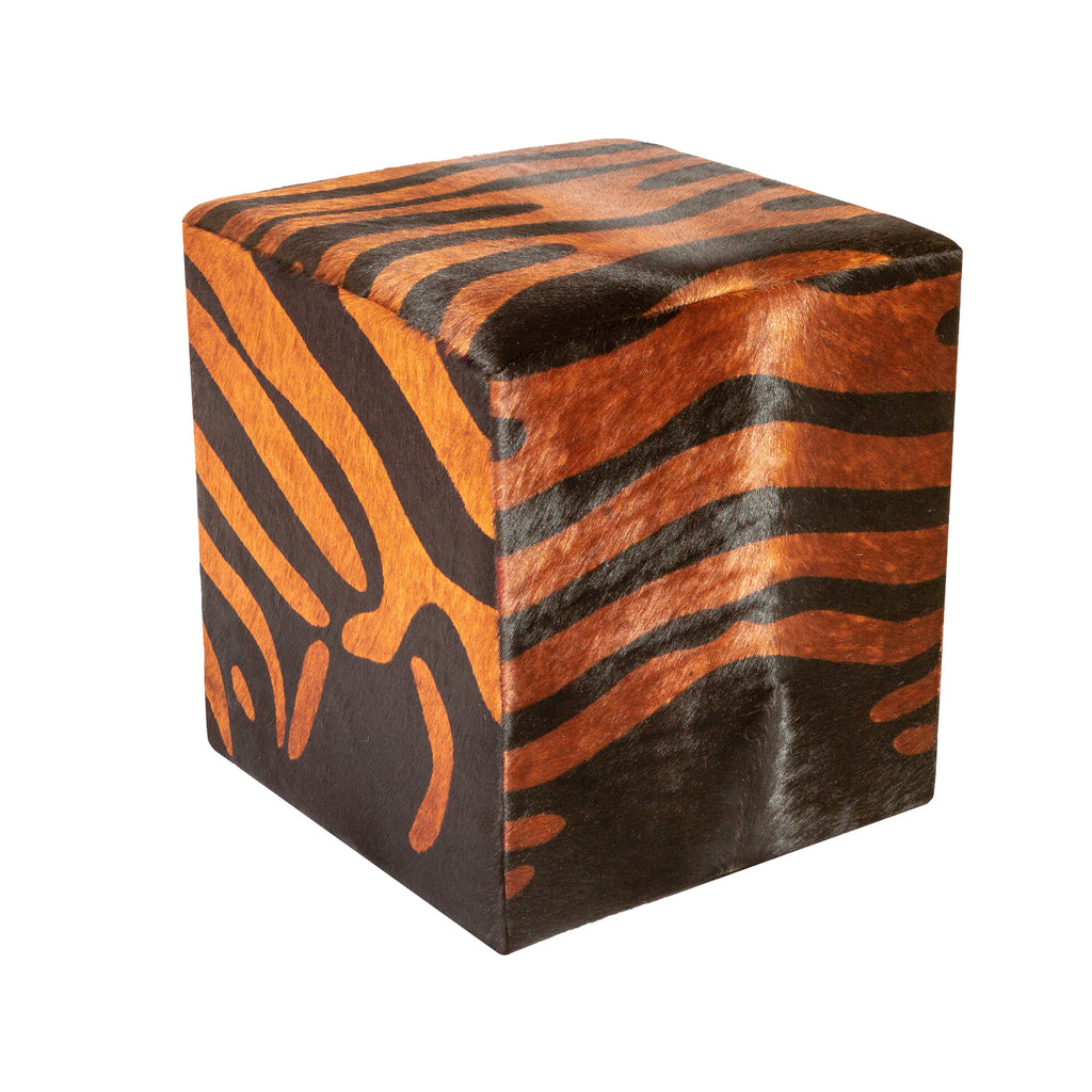 X2 Ottomans  Zebra Animal Print Brown 16x16x16 (made in USA)