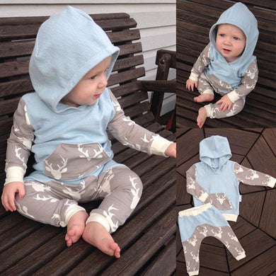 2Pcs Newborn Baby Girls/Boys Clothes Set || Long Sleeve Hooded Coat