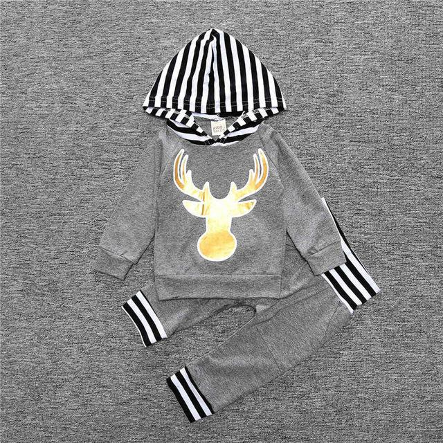 2PCS Deer Print Baby Outfit