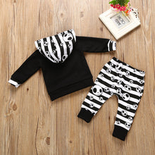 Nightmare Skull Striped Pants + Hoodie Outfit || 2Pcs Set  0-24M
