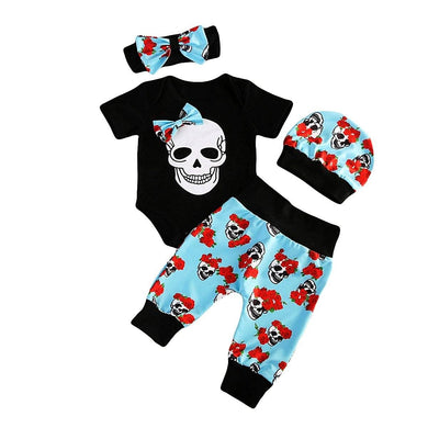 4Pcs Newborn Baby Girl Clothes Skull Clothes Set 0-24M