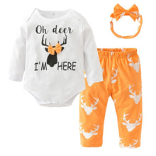 Baby Girl Deer Printed Bodysuit+Pants+Headband Clothing Set