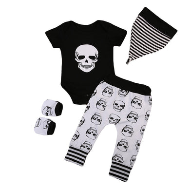 4PCS Newborn Baby Boy Girl Skull Clothes Set 0-18M