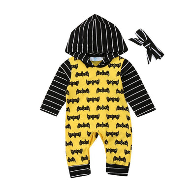 2pcs Superhero Yellow Hooded Set