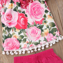 Crazy Rosy Tassel Top 2 Pcs Set