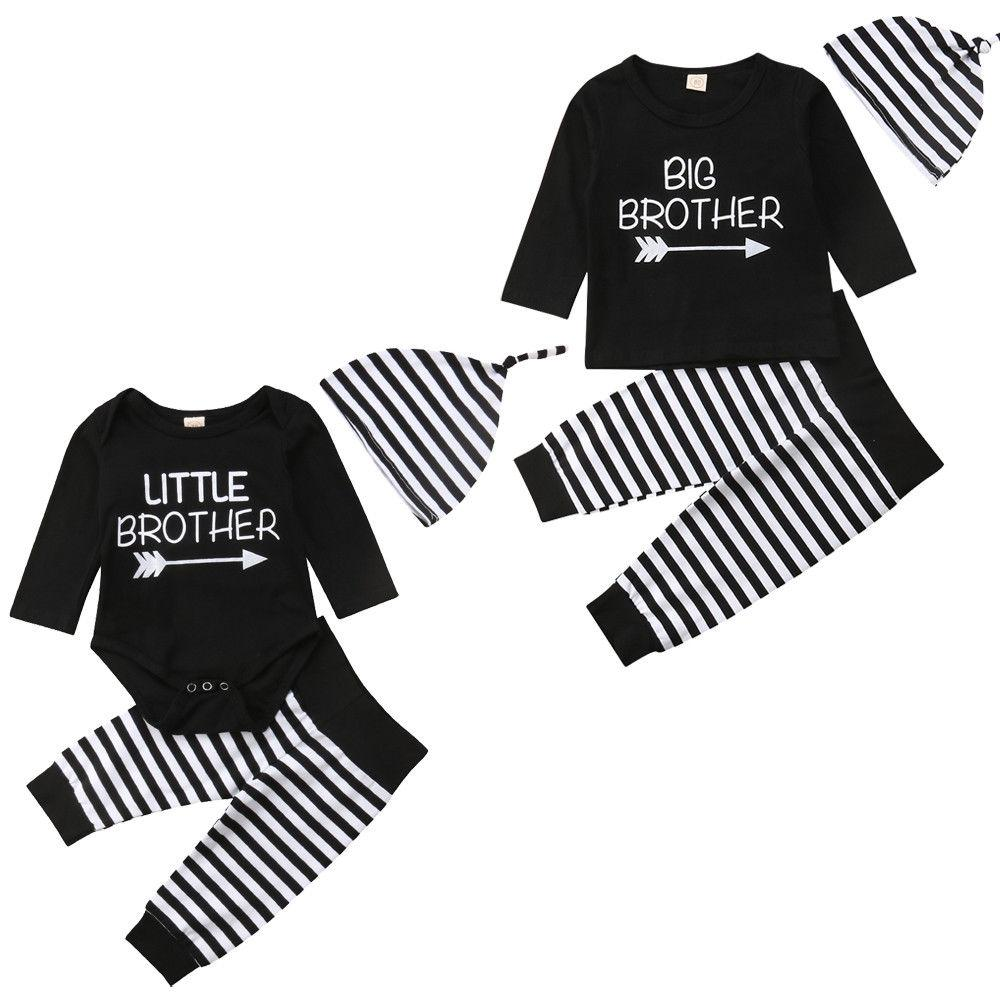 2018 Canis Little Big Brother Baby Boy Romper T-shirt Striped Pants Hat 3Pcs Family Matching Outfit Autumn Set