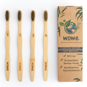 Natural Bamboo Toothbrush with Charcoal Infused Bristles