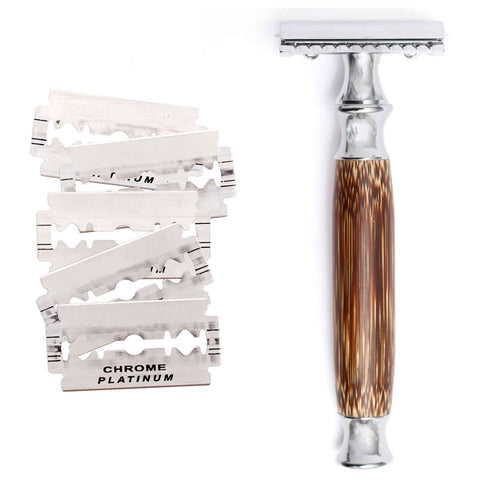 Classic Eco-Friendly Double Edge Safety Razor with Natural Bamboo Handle