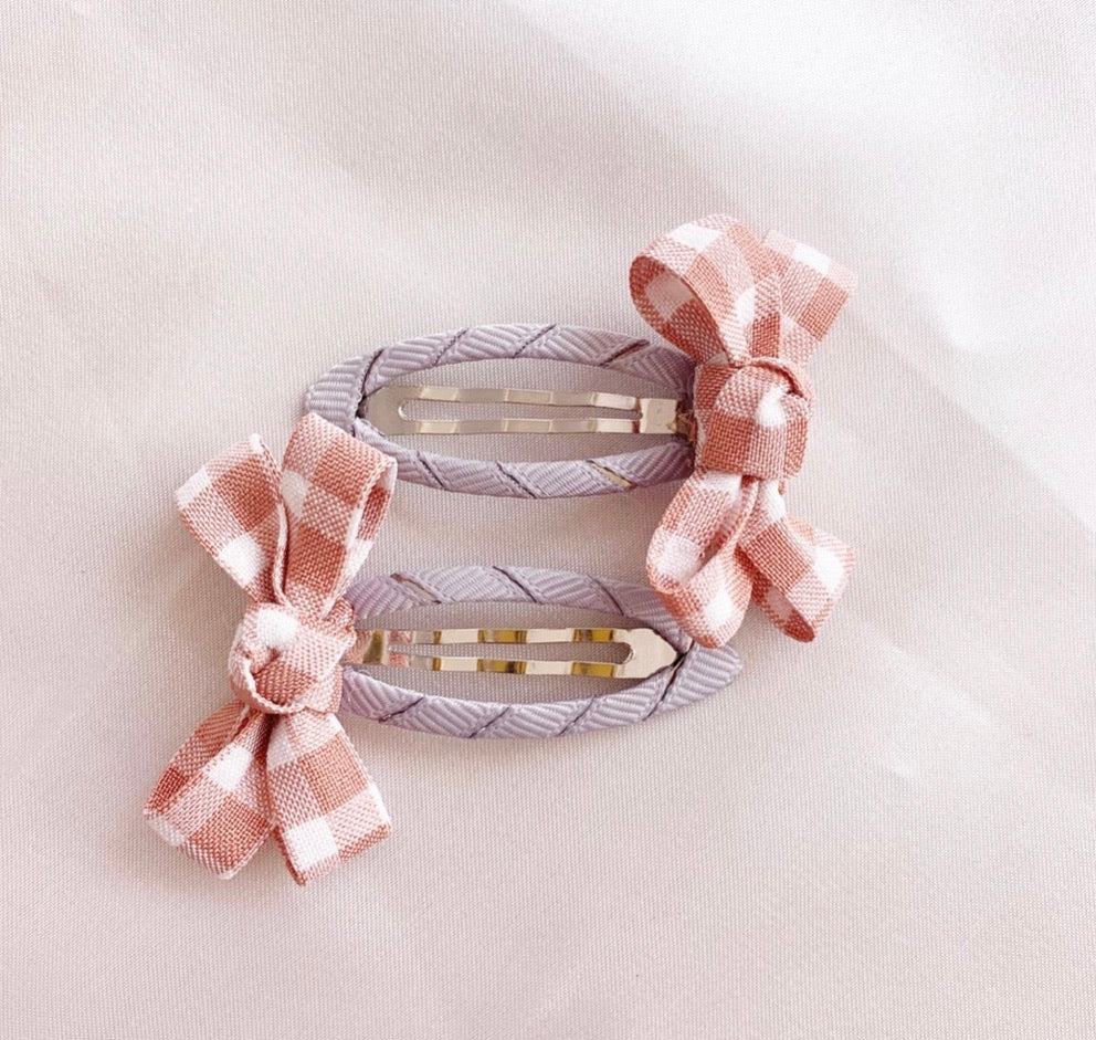 Gingham Hair Clip in Soft Pink