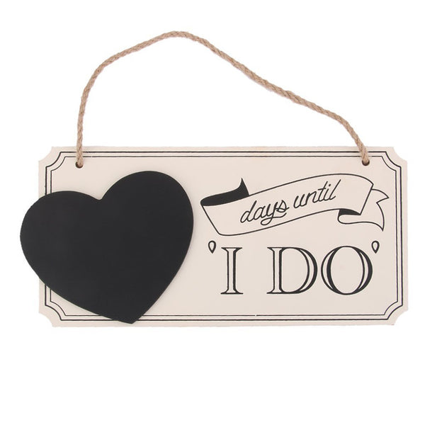 """days until I DO"" Wooden Chalkboard Wedding Countdown Sign"