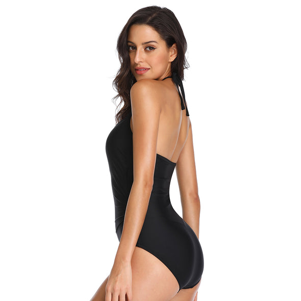 Laser Cut High Neck One Piece Swimsuit Halter Tommy Control - Dixperfect