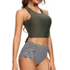 Arcadia Two Piece Tankini Cross Back Crop Top High Waisted Bottom in Olive