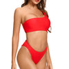 Bird Rock One Shoulder Crop Top Bikini in Red