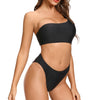 Bird Rock One Shoulder Crop Top Bikini in Black