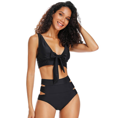 Bow Front Midkini Bralette Top Side Cut Out  High Waisted Bottom Bikini Set - Dixperfect