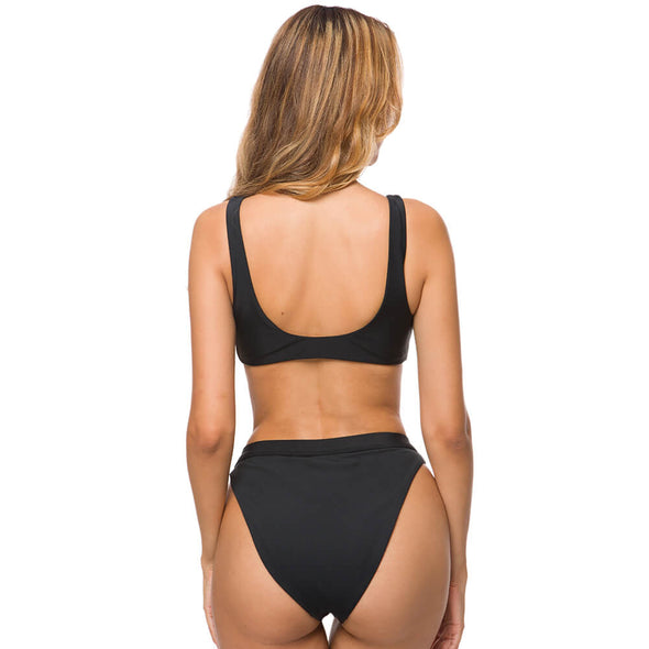 Bow Tie Front High Cut Bottom Bikini Set - Dixperfect
