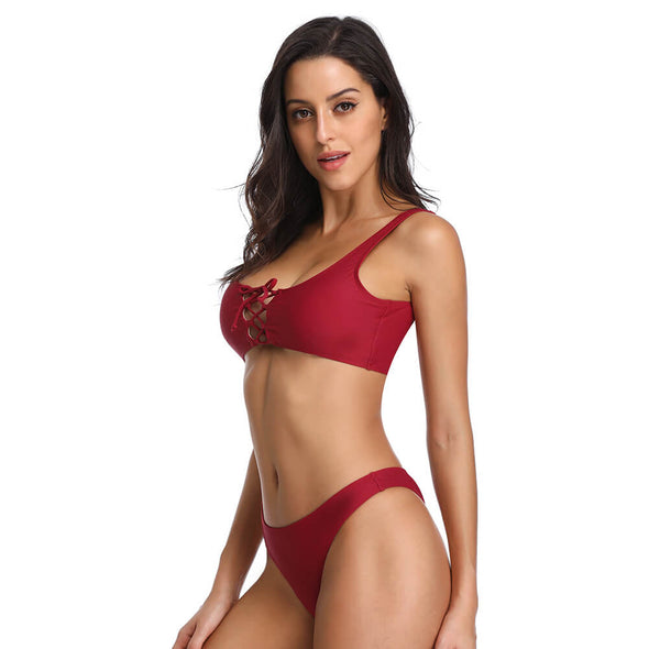 Brallette Lace-up Tie Front Bikini Set - Dixperfect