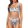 Laguna Low Scoop Crop Top High Cut Cheeky Bottom Bikini Set in White Snake