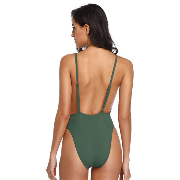 Deep V-Neck Plunge Side Scoop One Piece - Dixperfect