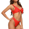 Del Mar Bow Tie Front High Cut Bottom Bikini Set in Red