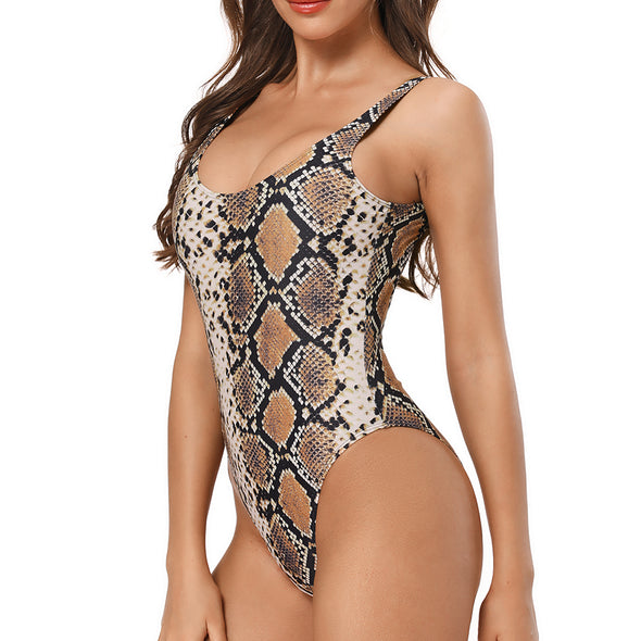 Malibu Retro 80s/90s Inspired High Cut Low Back One Piece in Brown Snake