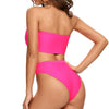 Hacienda Two Pieces Bandeau Bikini Set in Hot Pink
