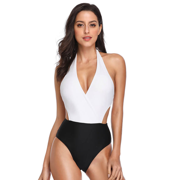 Halter Low Back Plunge  Removable Padded One Piece - Dixperfect