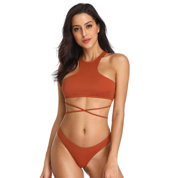 High Neck Lace up Crop Bikini Set - Dixperfect