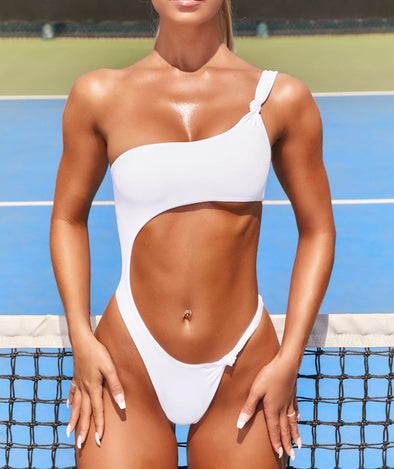 Honopu Cut Out Thong Swimsuit in White