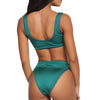Laguna Low Scoop Crop Top High Cut Cheeky Bottom Bikini Set in Emerald
