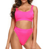 Laguna Low Scoop Crop Top High Cut Cheeky Bottom Bikini Set in Hot Pink