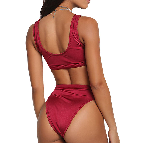 Laguna Low Scoop Crop Top High Cut Cheeky Bottom Bikini Set in Wine Red