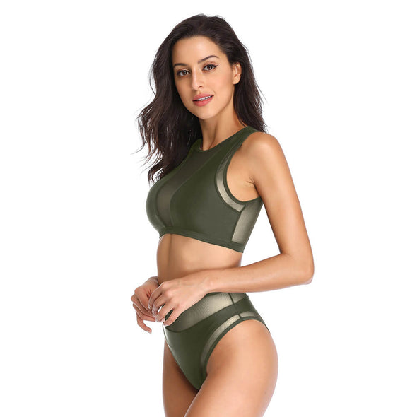 Mesh Insert High Neck Crop Top Bikini Set - Dixperfect