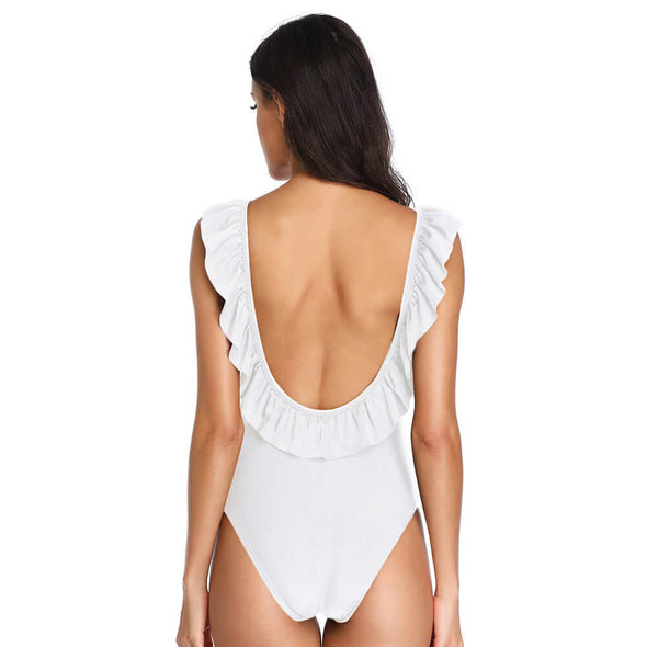 Ruffled Low Back Padded Solid One Piece - Dixperfect