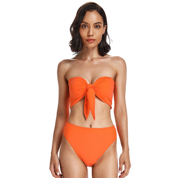 Strapless Scarf Bandeau Cheeky High Cut Bottom Bikini Set - Dixperfect