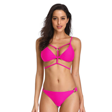 Strappy Triangle O-Ring Two Pieces Bikini Set - Dixperfect