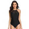 Laser Cut High Neck One Piece Swimsuit Halter Tommy Control Bathing Suit - Dixperfect