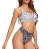 Laguna Low Scoop Crop Top High Cut Cheeky Bottom Bikini Set in Mixed Mono Spot