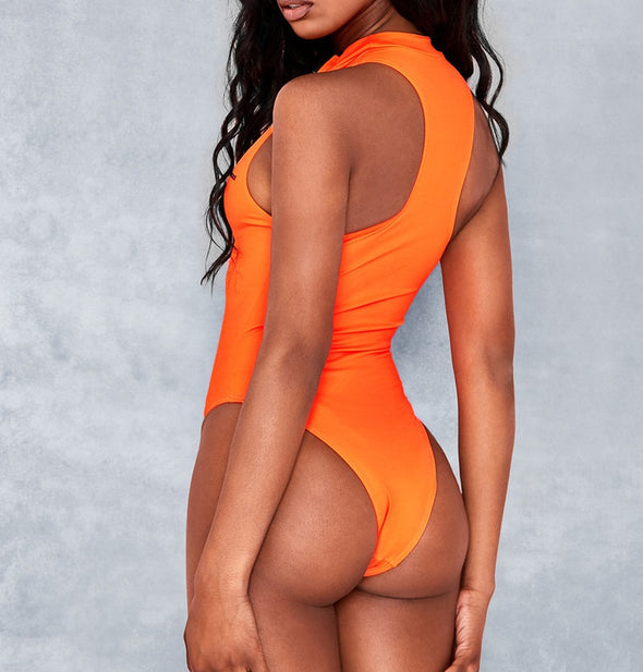 Newport Orange Zip Front Turtleneck One Piece Swimsuit in Orange