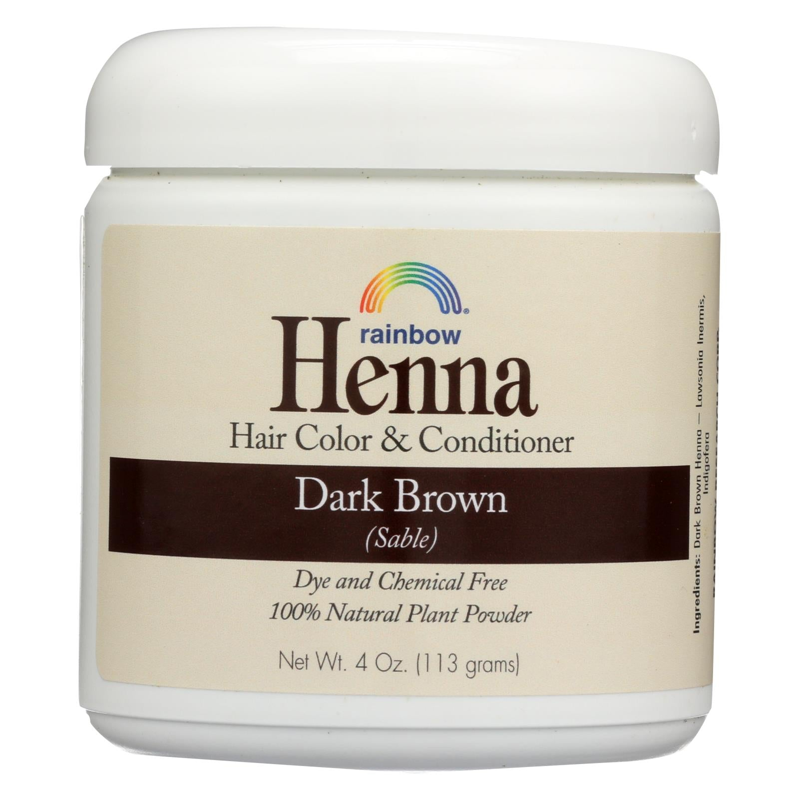 Buy Rainbow Research Henna Hair Color and Conditioner Persian Dark Brown Sable - 4 oz - Hair Color from Veroeco.com