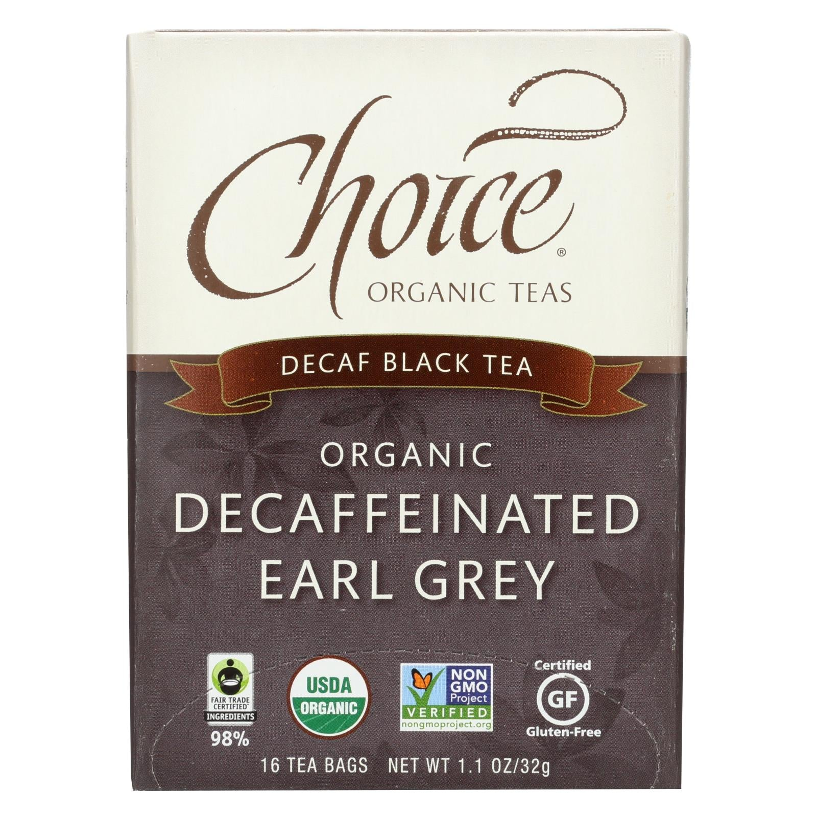 Buy Choice Organic Teas Decaffeinated Earl Grey Tea - 16 Tea Bags - Case of 6 - Black Tea from Veroeco.com