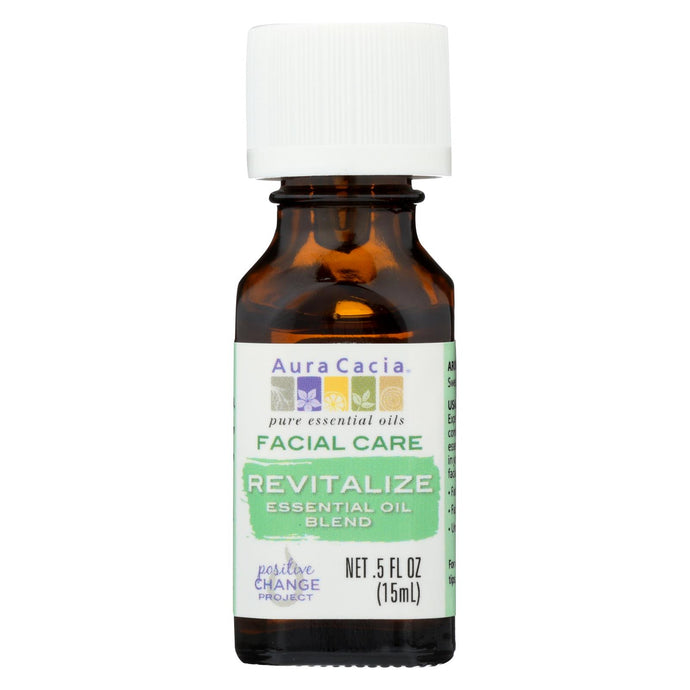 Aura Cacia Facial Massage Oil - Revitalize Essential Oil Blend - 0.5 FL oz.