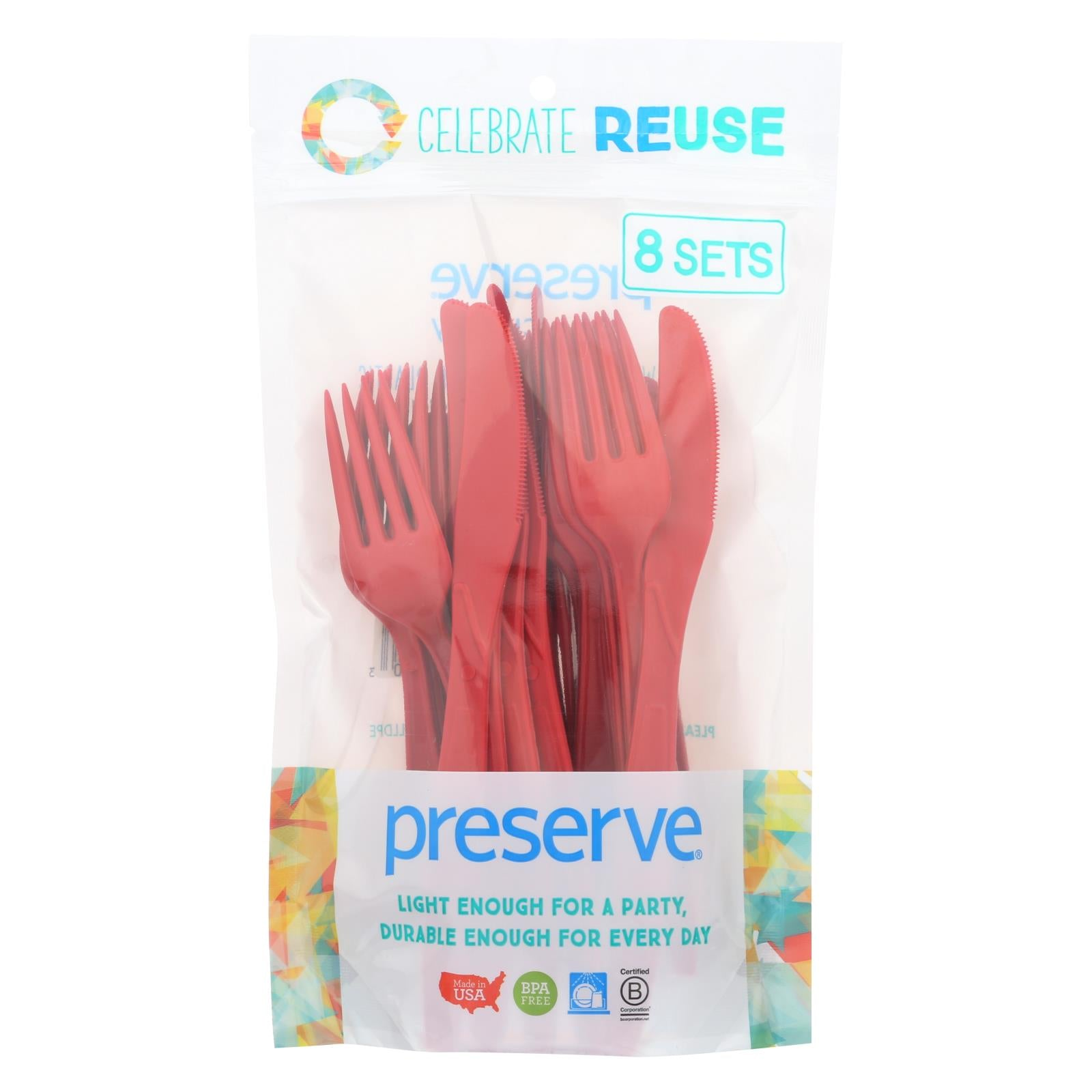 Buy Preserve Heavy Duty Cutlery Sets - Pepper Red - 8 Sets - 24 Pieces total - Tableware from Veroeco.com