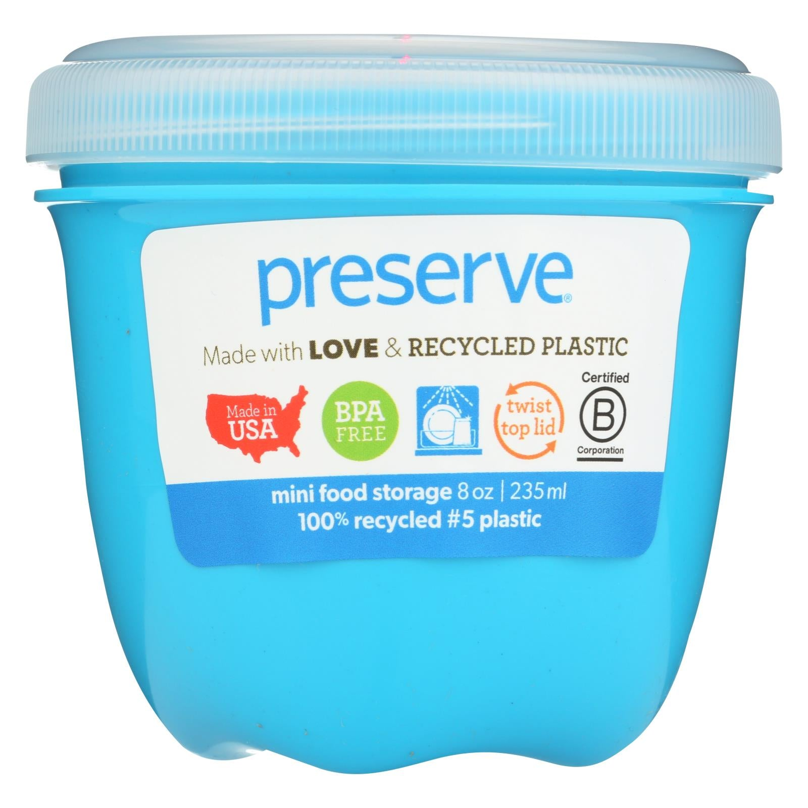 Buy Preserve Food Storage Container - Round - Mini - Aqua - 8 oz - 1 Count - Food Containers from Veroeco.com