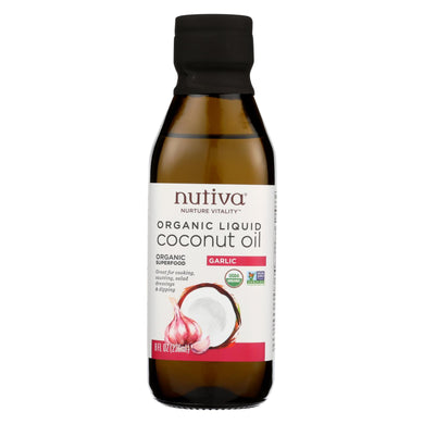 Nutiva Oil - Organic - Liquid Coconut - Garlic - Case of 6 - 8 fl oz