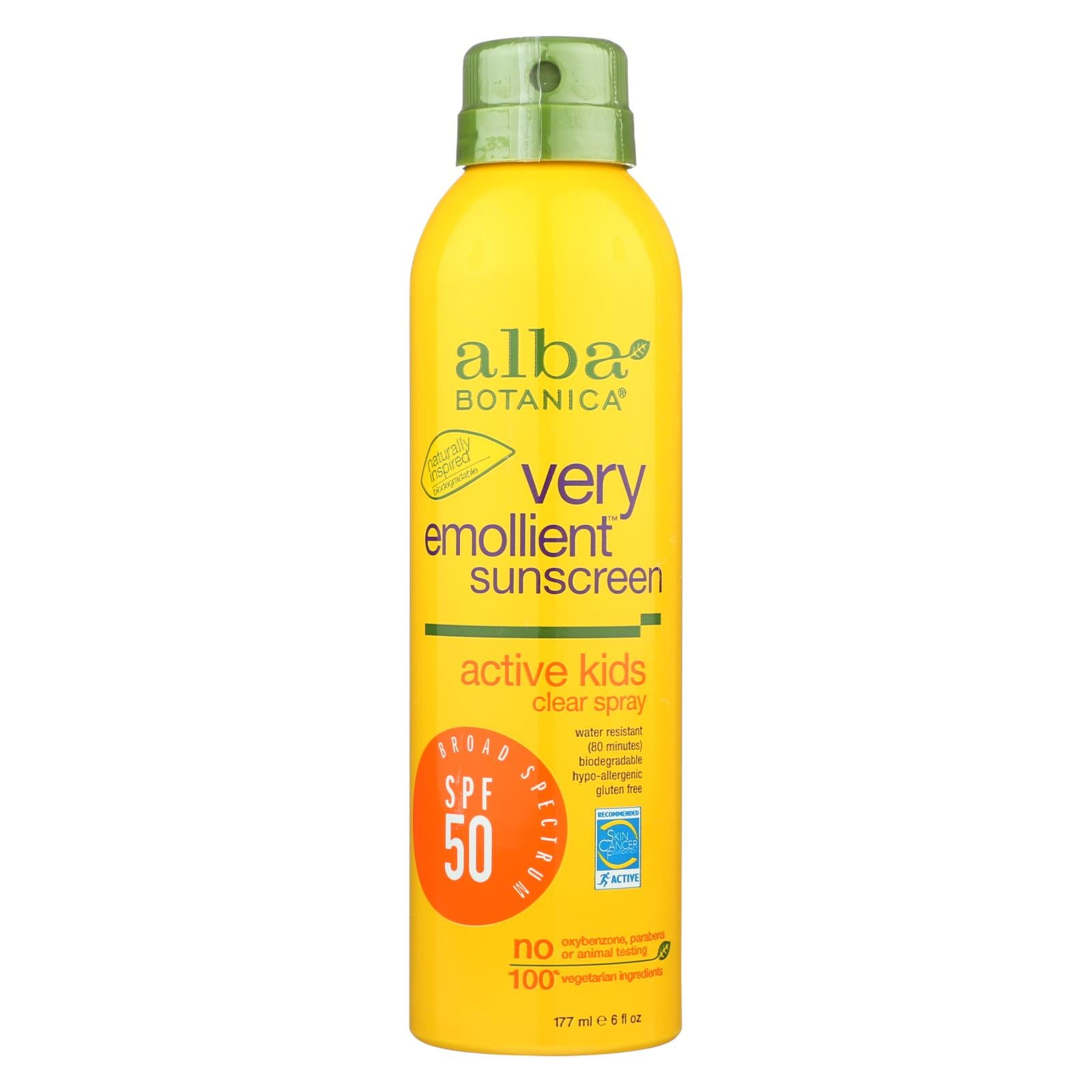 Buy Alba Botanica Sunscreen - Very Emollient - Clear Spray SPF 50 - Active Kids - 6 oz - Baby Skin and Sun from Veroeco.com