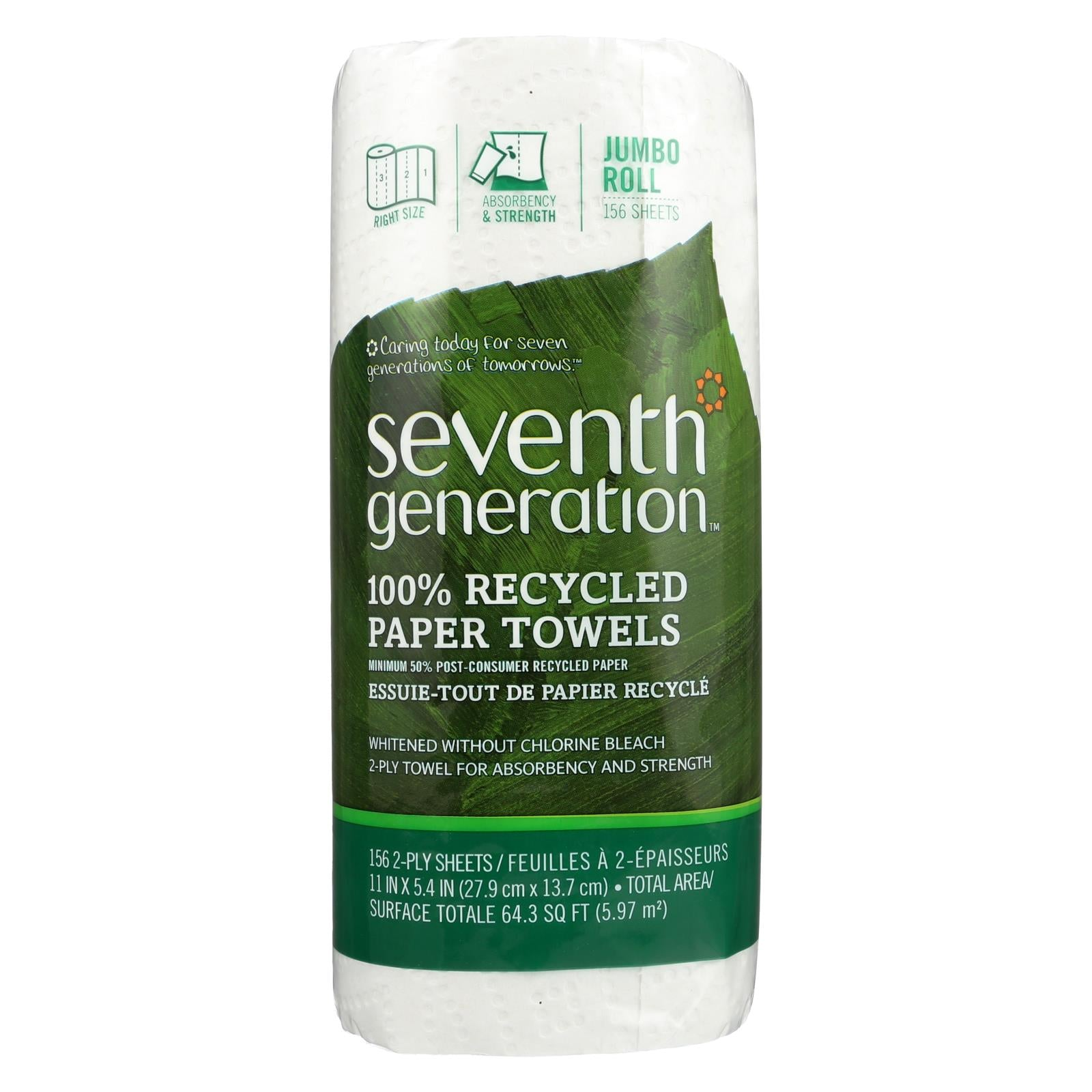 Buy Seventh Generation Paper Towels - White - 156 sheet roll - Case of 24 - Paper Towels from Veroeco.com