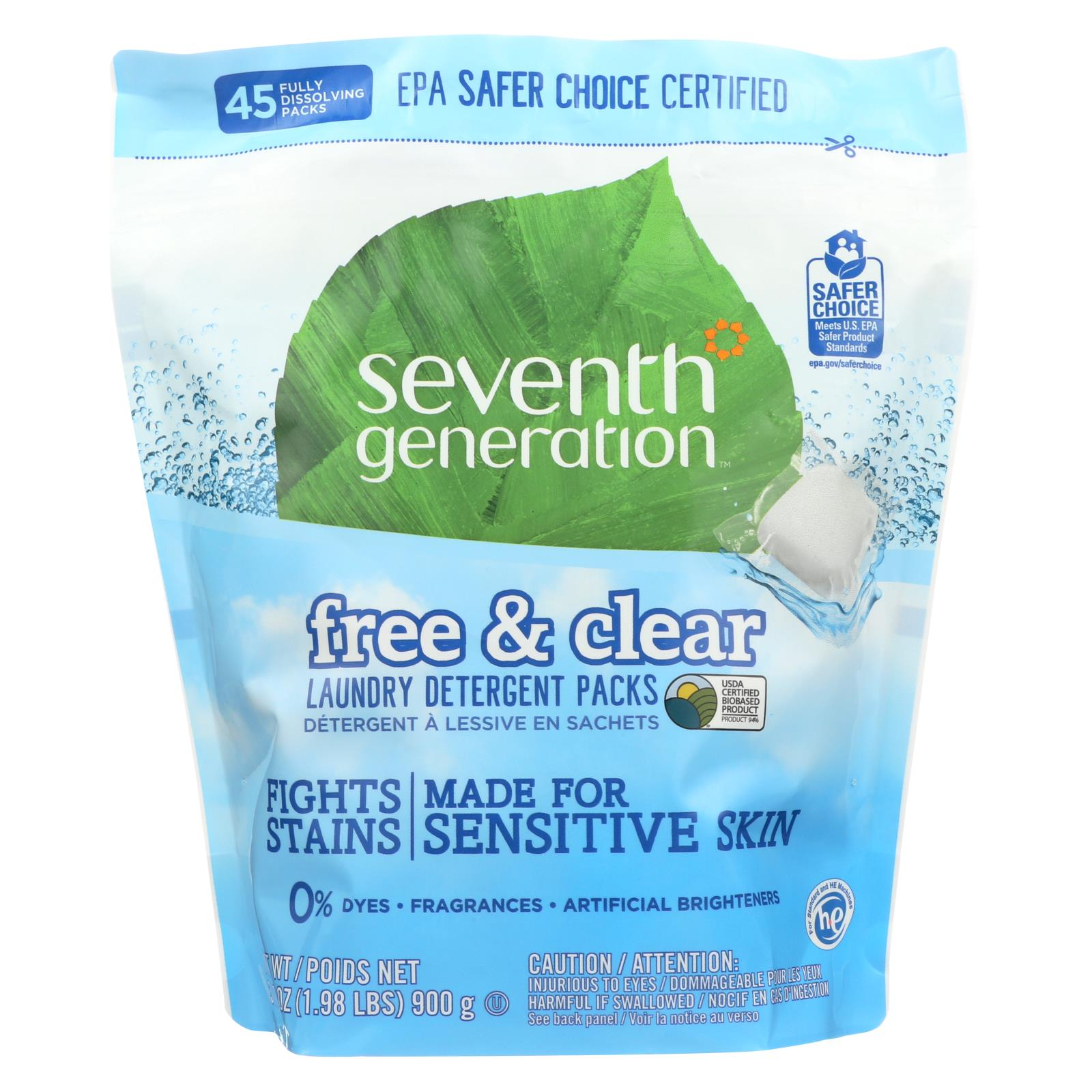 Buy Seventh Generation Laundry Detergent - Packs - Case of 8 - 45 count - Laundry from Veroeco.com